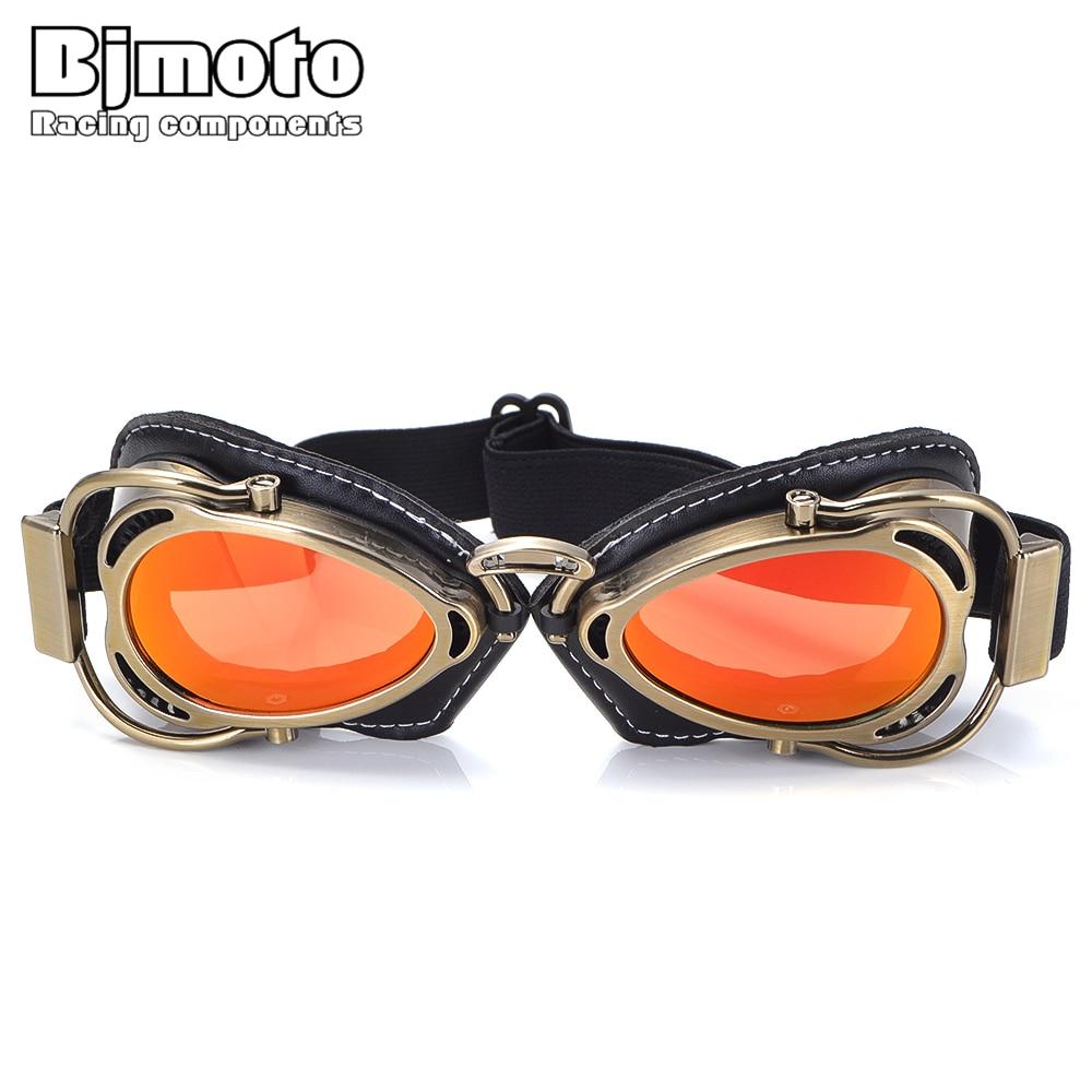 BJMOTO Motorcycle Helmet Steampunk Glasses Flying Goggles Vintage Pilot Biker Eyewear Goggles