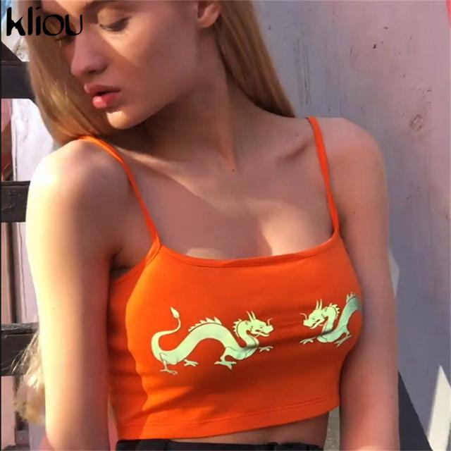 Kliou mujeres sexy camisola reflectante dragón estampado crop top 2019 verano niñas correa corta neón naranja camis camisetas ropa de vacaciones