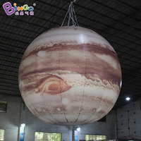 Customized 1.5m diameters inflatable Jupiter / inflatable Jupiter planet balloon with white LED toys