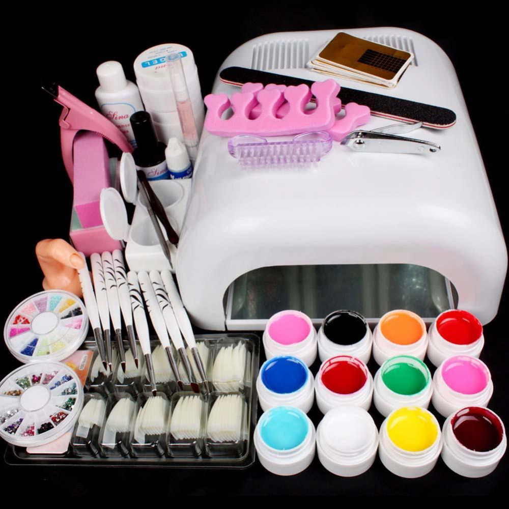 Full Set 36W White Cure Dryer Lamp & 12 Color UV Gel Nail Art Tips Tools Kits 2017 hot pro full 36w white cure lamp dryer 12 color uv gel nail art tools set kit