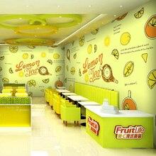 Custom 3d mural summer fresh green fruit salad juice 3D mural tea shop dessert cafe restaurant mural wallpaper