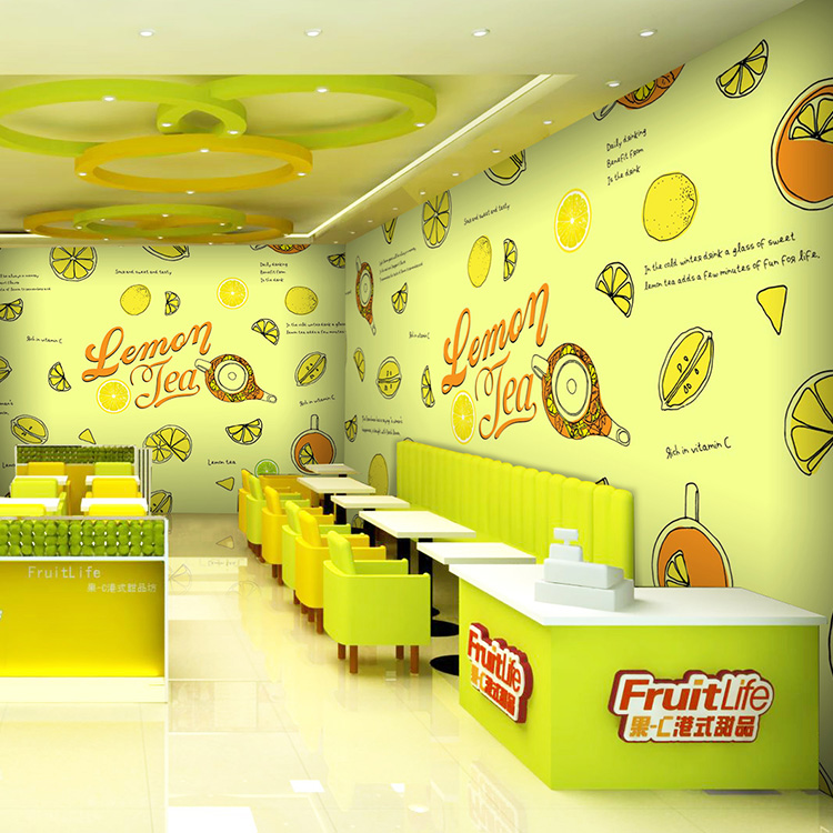 Free Shipping summer fresh green fruit salad juice 3D mural tea shop dessert cafe restaurant mural wallpaper