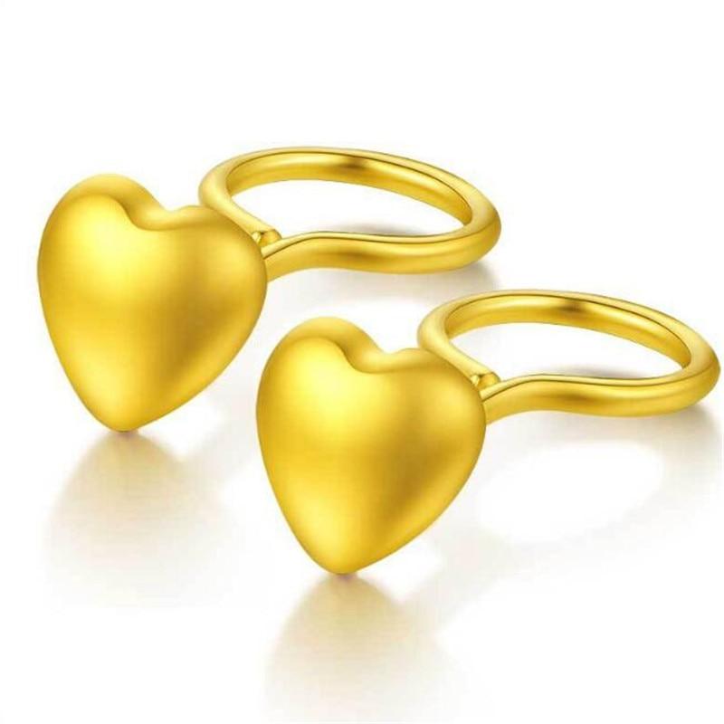 100% 18K Gold Summer Fashion Bohemian Small Love Heart Stud Earrings For Women Tiny Heart Earrings boucle doreille femme 2018100% 18K Gold Summer Fashion Bohemian Small Love Heart Stud Earrings For Women Tiny Heart Earrings boucle doreille femme 2018