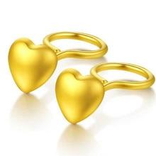 100% 18K Gold Summer Fashion Bohemian Small Love Heart Stud Earrings For Women Tiny boucle doreille femme 2018