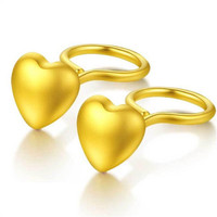 100% 18K Gold Summer Fashion Bohemian Small Love Heart Stud Earrings For Women Tiny Heart Earrings boucle d'oreille femme 2018