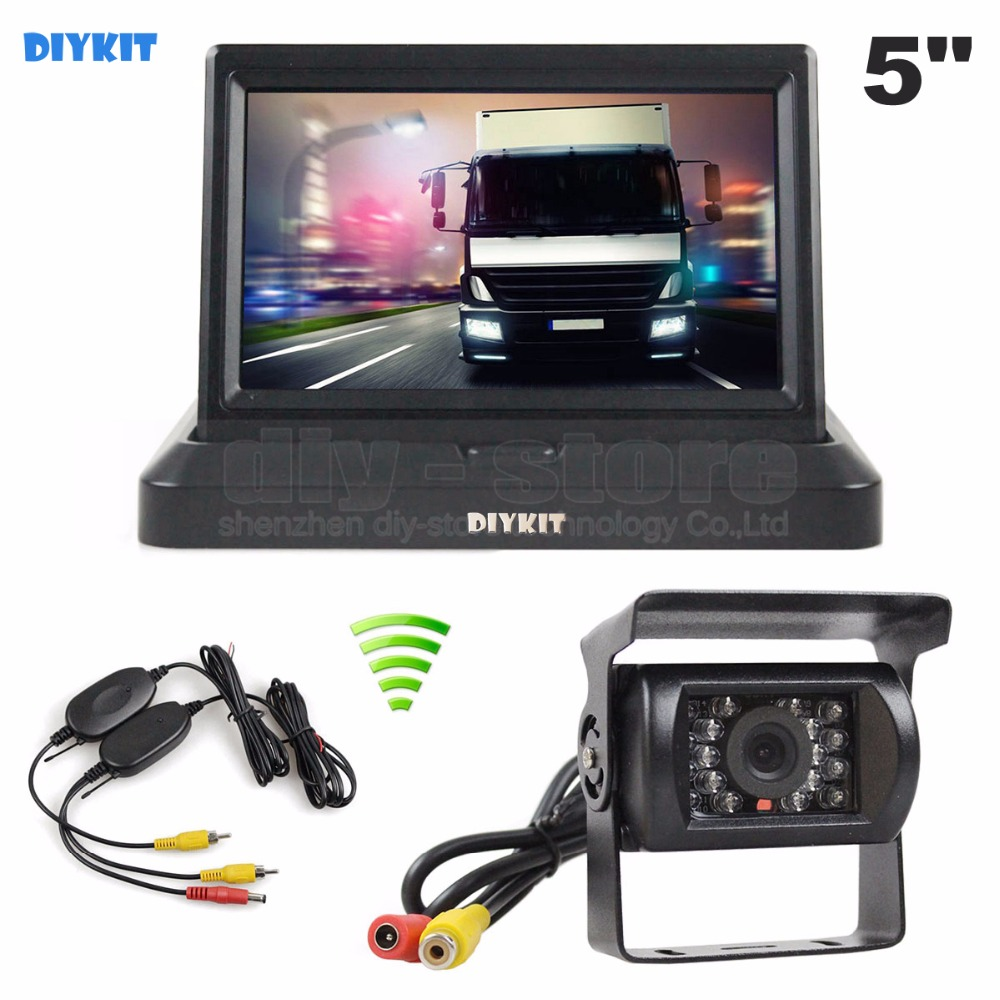 DIYKIT Wireless 5 inch Foldable TFT LCD Monitor HD Waterproof IR Night Vision CCD Rear View Car Camera for Truck Caravan Bus Van 7 car wireless foldable tft lcd monitor with rear view infrared night vision backup camera reverse parking cam for truck bus