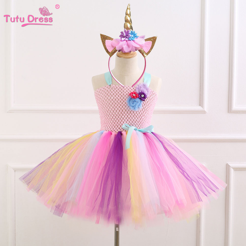 Elegant Colorful Flowers Birthday Party Dresses Children Kids Clothes Baby Girls Dress Unicorn Costume Summer Girl Tutu Dress fashion children dresses for girls princess dress brand lace long party birthday clothes costume kids unicorn tutu summer dress