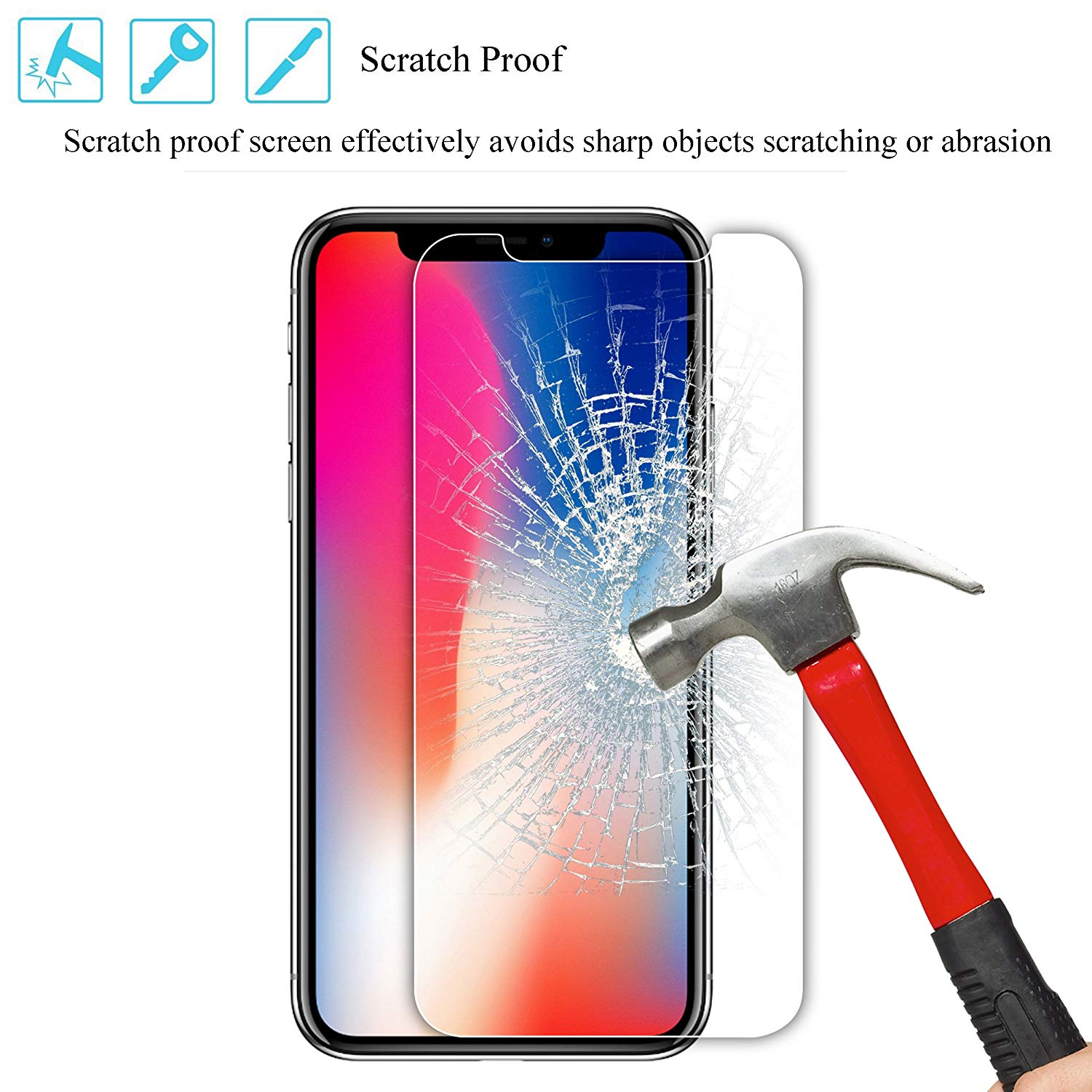 Glass For iPhone XS XR XS MAX Screen Protector Cover For iPhone 8 X 7 6 6S Plus 5 5S SE XS MAX XR XS 6.5 5.8 6.1 inch 2019 New