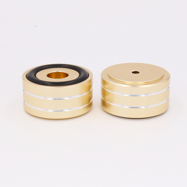 Gold Anodized Mini Solid Aluminum Feet Isolation Pad For DAC CD Turntable Radio AMP CNC Machined With non slip