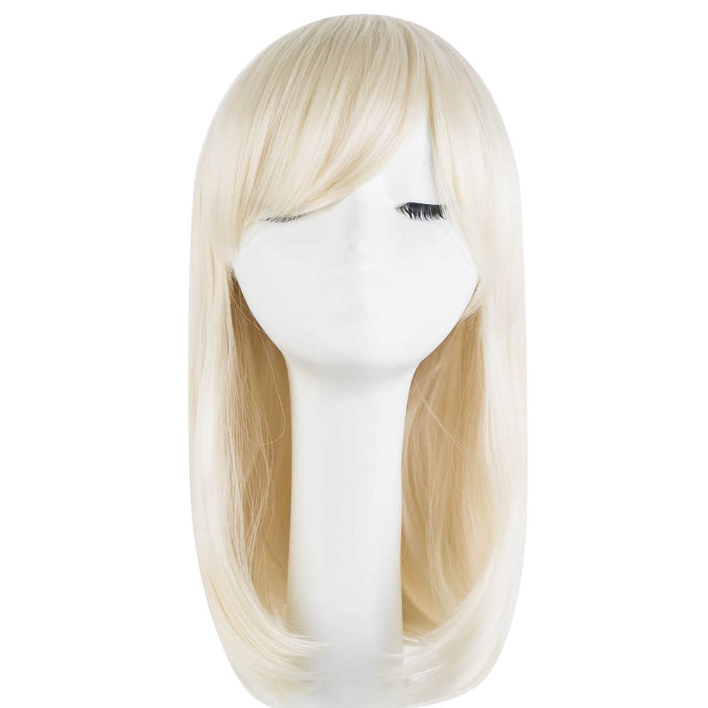 Fei-Show Synthetic Heat Resistant Fiber Medium Wavy Black Halloween Hairpieces Fringe Bangs Cosplay Costume Carnival Blonde Wig