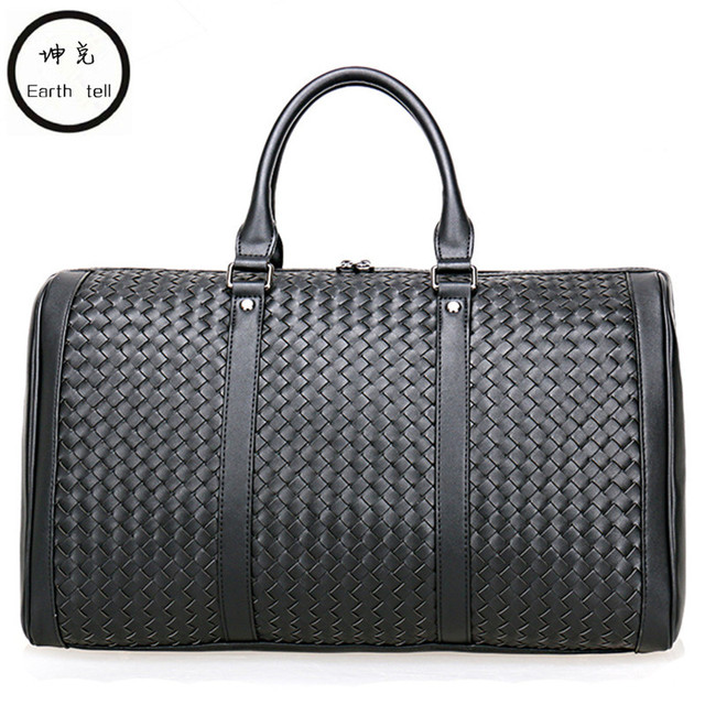 c2a1c7dd7eb2 100% Cowhide Weaving Genuine Leather Men Travel Bag Real Leather Duffle  Bags Big Luggage Carry