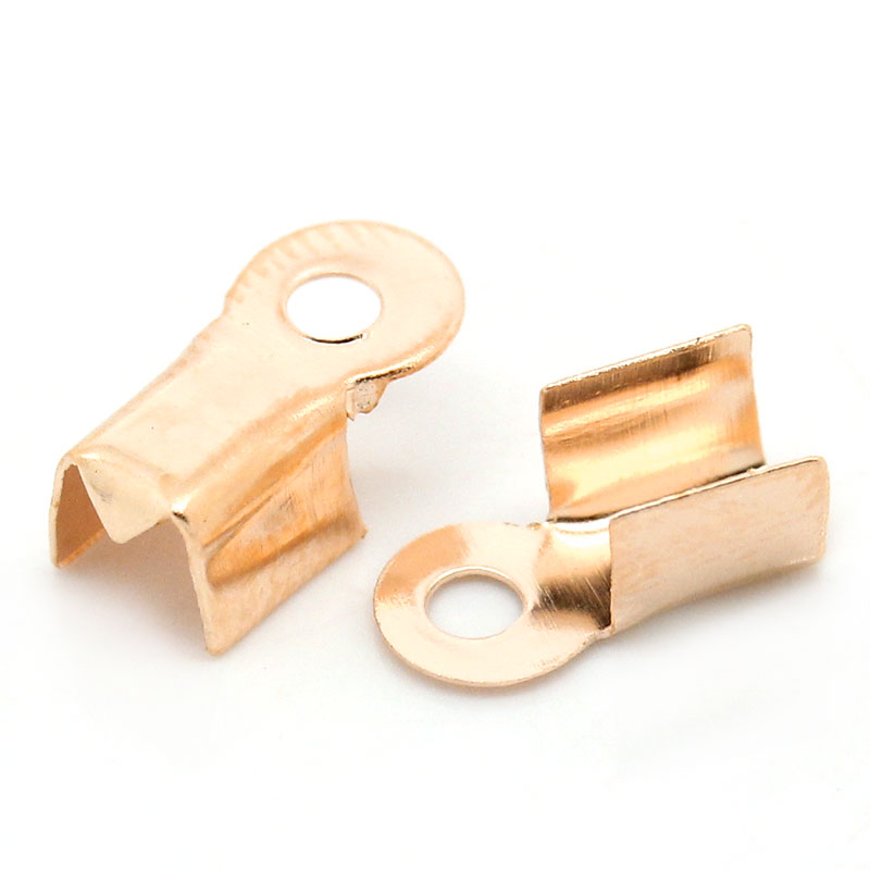 Alloy Necklace Cord End Tips Rectangle Rose Gold 9mm( 3/8