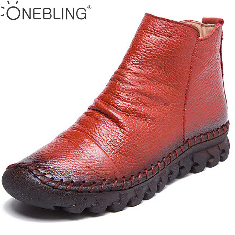Winter Warm Short Plush Women Ankle Boots 2017 Spring Fashion Genuine Leather Pleated Zipper Short Boots Femal Sewing Flat Shoes