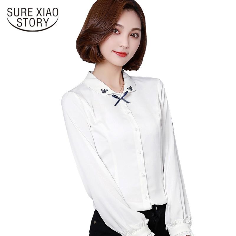 1f1e2052 Camisa blanca 2018 nueva Blusa de gasa bordada Mujer camisa de manga larga  primavera elegante Formal Oficina señora Blusas D381 30
