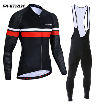 PHMAX 2019 Bib Cycling Jersey Set Long Sleeve Cycling Clothing Spring Breathable MTB Bicycle Clothes Racing Bike Wear