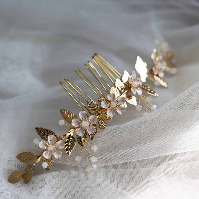 Wedding Bridal Hair Combs Crystal Hair Accessories Golden Leaf Comb Headwear