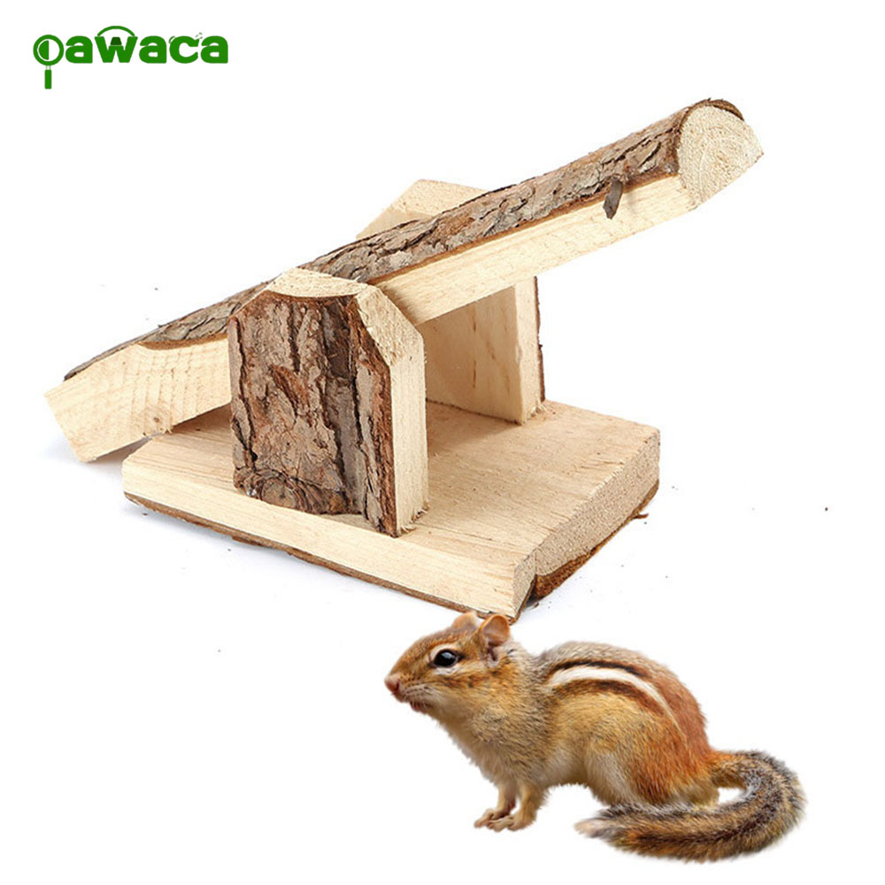Natural Wood Hamster Seesaw Pet Seesaw Toy Funny Hamster Seesaw Small Hamster Accessories Pet Movement Supplies