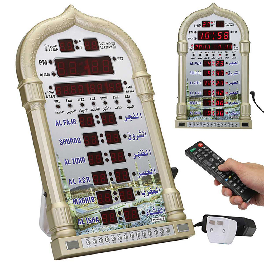 Digital Home Decor Gift Azan Clock Mosque Ramadan Muslim Prayer Islamic Music Playing Time Reminding Calendar Led Wall Table