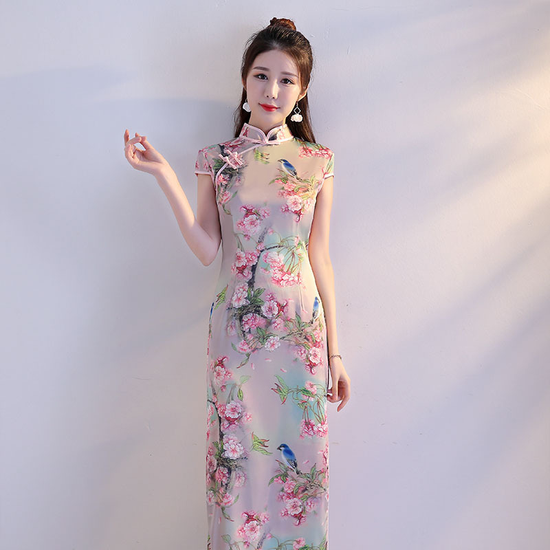 19a9d62fa 2019 New Girl Traditional Chinese Silk Dress Women Long Qipao Slim ...