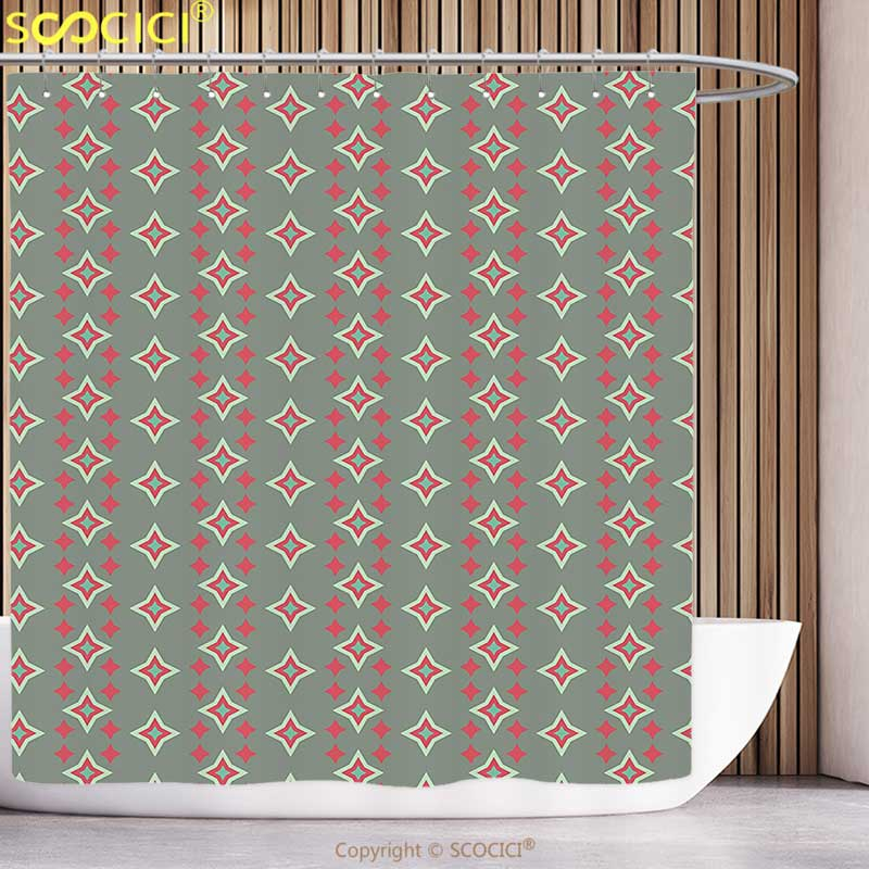 Funky Shower Curtain Retro Big and Small Nested Star Shapes Vertical Striped Vintage Art Pattern Sage Green Red Seafoam Bathroom