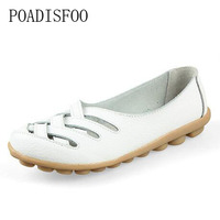 POADISFOO Woman Shoes Genuine Leather Shoes Flats Drive Shoes Hollow Summer Hollow Leather Tendon Flat Fashion
