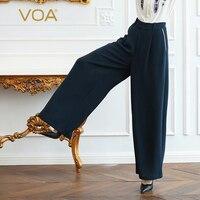 VOA тяжелый шелк офисные Широкие штаны Для женщин длинные брюки плюс Размеры 5XL свободные Темно синие Краткое Основной Повседневное середины
