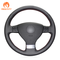 MEWANT Black Artificial Leather Car Steering Wheel Cover for Volkswagen Golf 5 Mk5 VW Passat B6 Jetta 5 Mk5 Tiguan 2007 2011