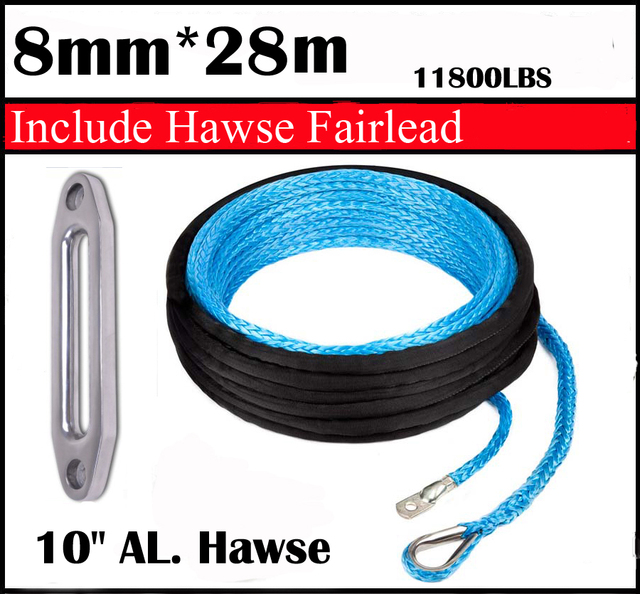 """New Strong 100% UHMWPE Synthetic Winch Cable/Rope 8MM*28Meter w/t+10"""" Al. Hawse for 4WD/ATV/UTV/SUV Winch Use////free shipping"""