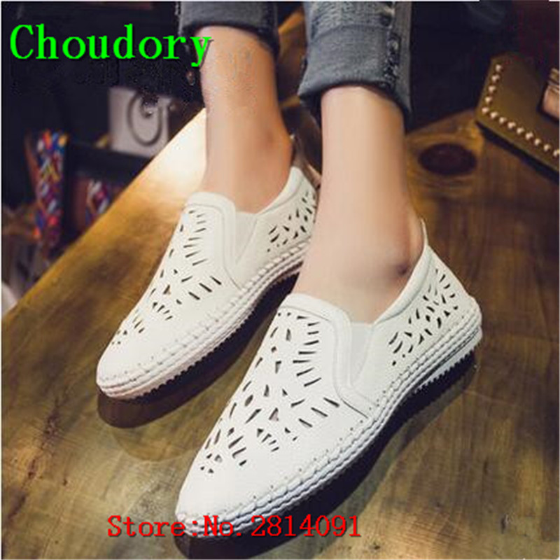 Choudory White New Elastic Band Round Toe Womens Casual Suede Leather Breathable Mesh Shoes Women Sewing New Fashion Flat Shoes