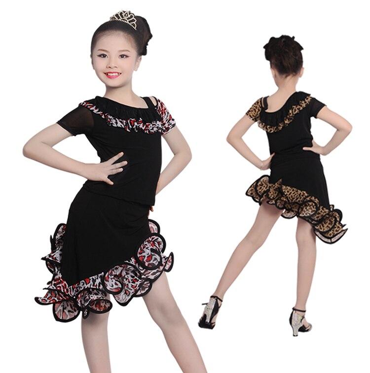 Cheap Professional Girls Dew Shoulder Unequal Leopard Dress Child Kid Performance Latin Dance Shirt Suit