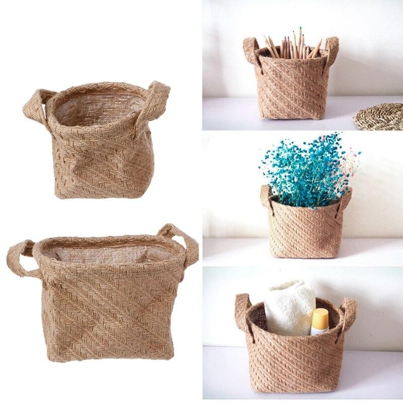 Desktop Organizer Linen Laundry Bag Underwear Basket Storage Cabinet Makeup Organizer Storage Box Organizador Stowing Tidying