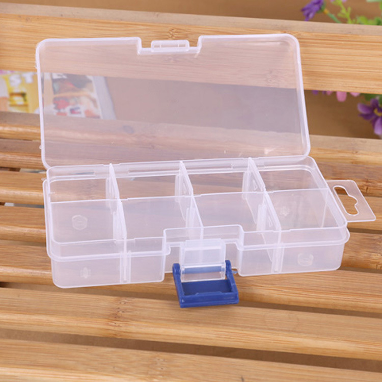 8 Dividers Transparent Plastic Storage Box Toy Jewelry Accessories