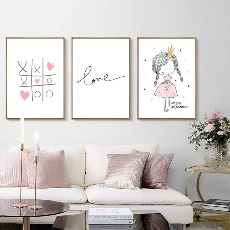 Image 2 - Love Quotes Baby Room Wall Art Canvas Painting Nordic Poster For Living Room Pink Wall Pictures Decoration Unframed-in Painting & Calligraphy from Home & Garden