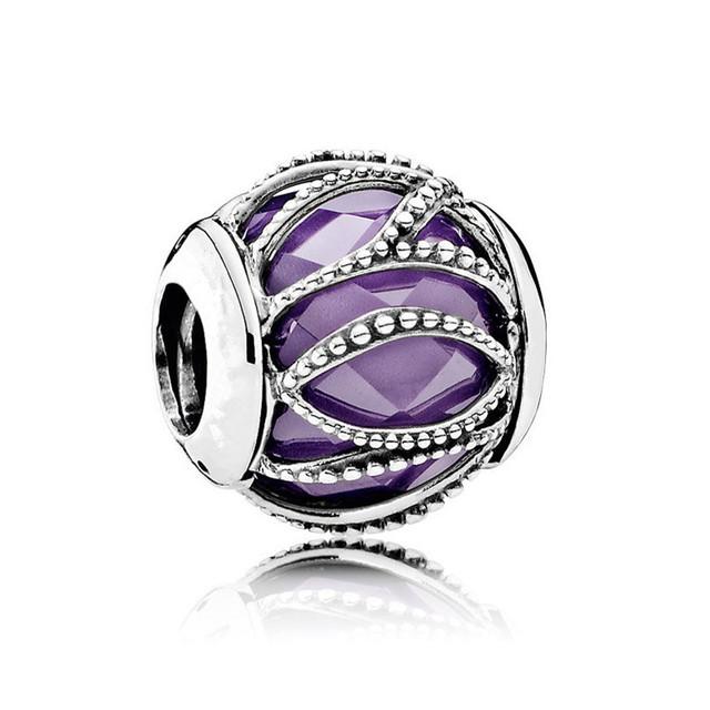 Nueva colección otoño de Entrelazamiento Resplandor Púrpura charm 925 plata esterlina encantos ajuste pulseras del grano de diy Memnon joyería BE388