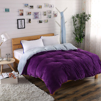Winter Flannel Fleece duvet cover single Comforter cover Home textile 1pc Solid warm quilt cover Velvet bedcover double side use