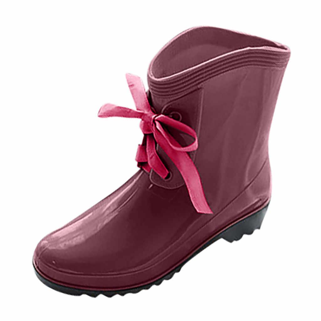 2019 Regen Laarzen Waterdichte Schoenen Vrouw Water Rubber Lace Up Laarzen Naaien Effen Platte met Schoenen Laarzen Vrouwen 7.9