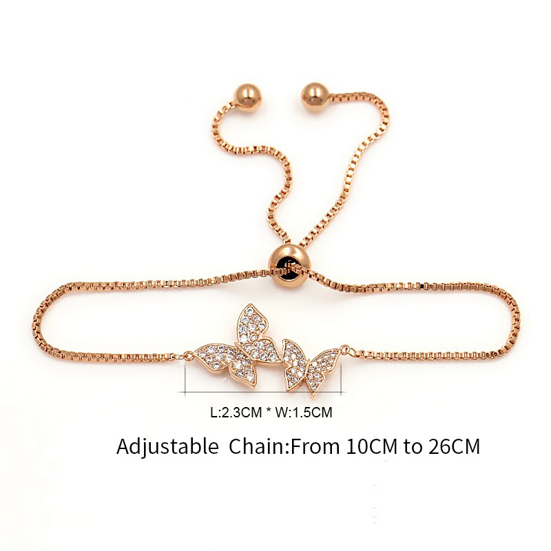 Tiny Trendy Cubic Zirconia Crystal Butterfly Bracelet Luxury Cz Stone Rose Gold Adjustable Bracelet For Women Jewelry S-L0003 4