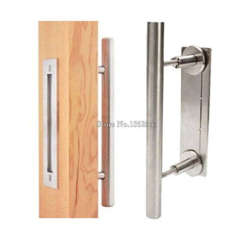 Express Free Shipping 6PCS Stainless Steel Barn Door Handle Pull\u0026Wooden sliding door handle knob CP431(