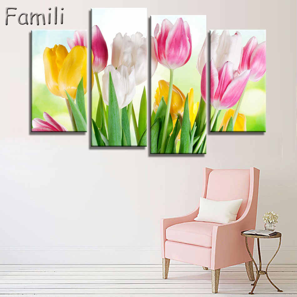No Frame pictures 4PCS Modular Wall Picture Art Painting Of Roses Tulips Print On Canvas Paintings Posters Living Room Bedroom