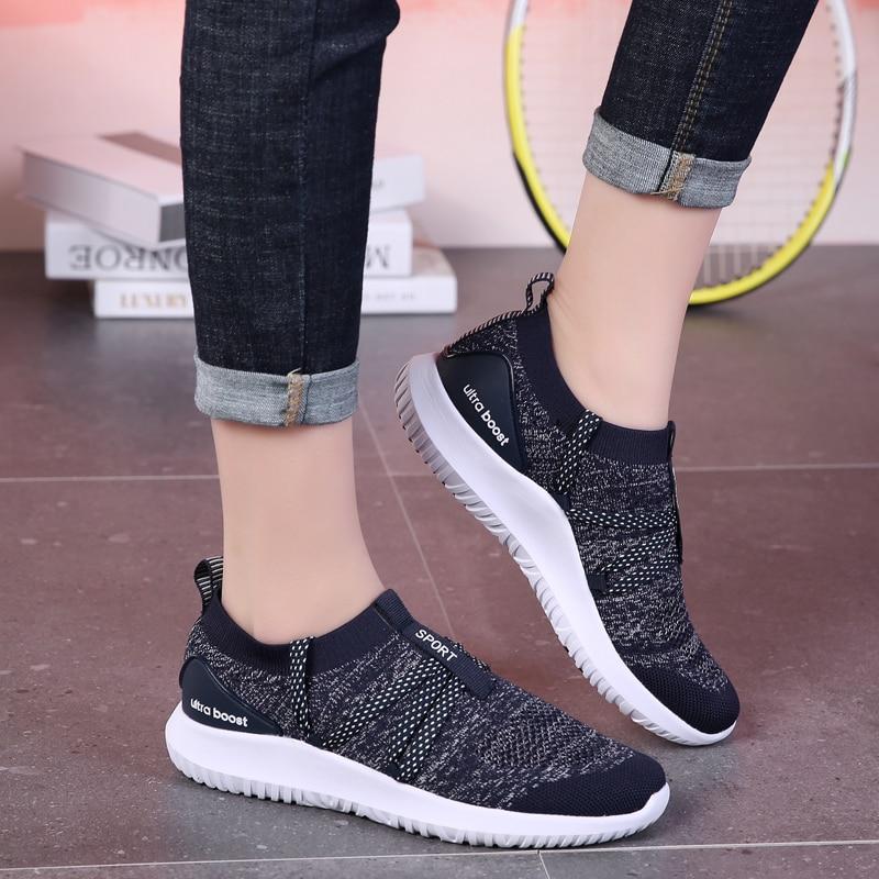 Femmes baskets Sport été femmes baskets chaussures respirant sans lacet filles chaussures d'athlétisme noir femmes chaussures de course baskets
