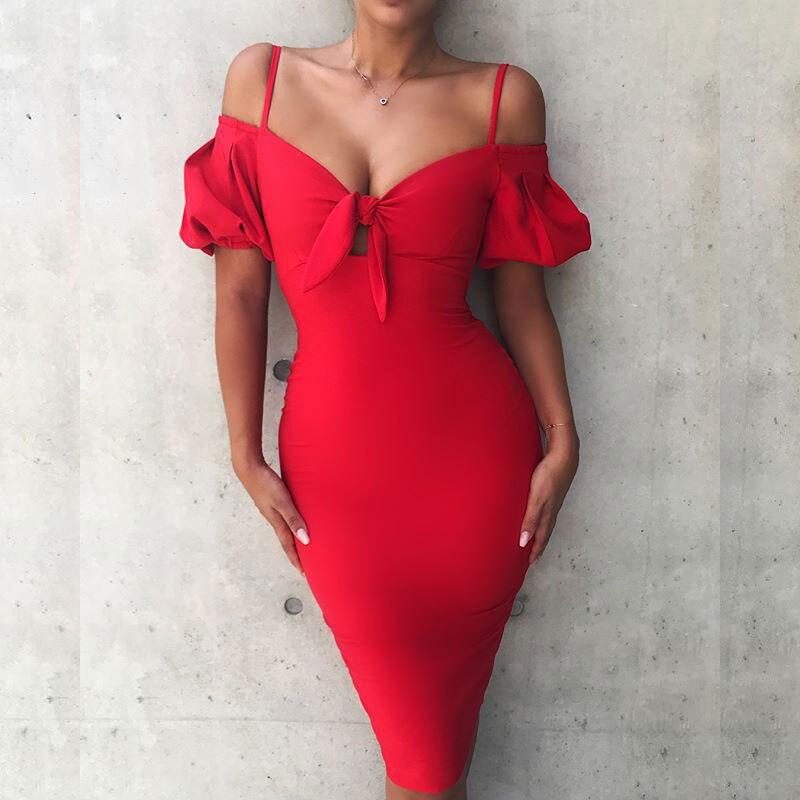 Femmes Longues Black red Feuille Mince Sexy La Partie Mode Arc Manches white Discothèque De Porter Robe Robes Sangle Lotus Lady Lacée Évider dHRHP