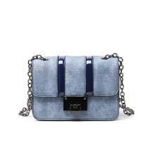 Literary Flap Crossbody Bags For Women 2019 Small Chain Handbag Denim Indigo Small Bag PU Leather Ladies Designer Shoulder Bags недорого