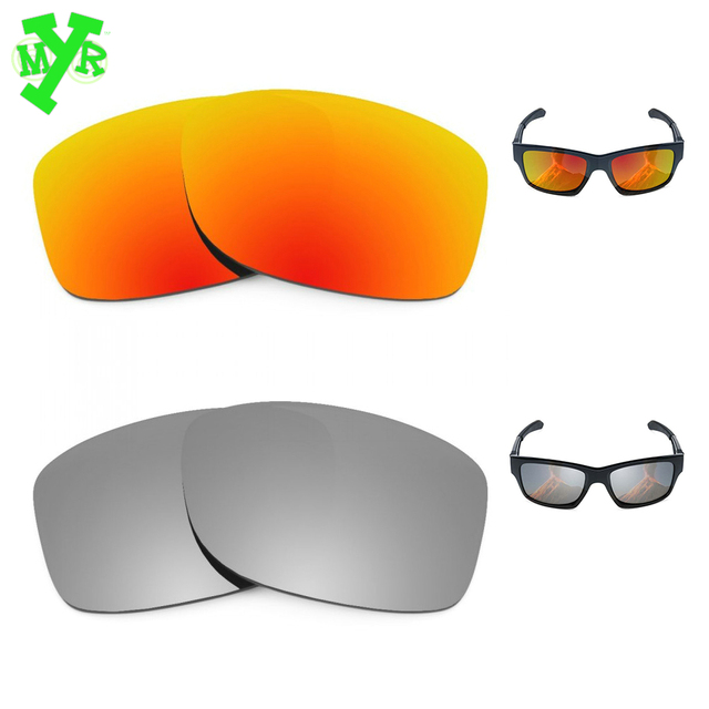 MRY Fire Red   Silver Titanium Pair POLARIZED Replacement Lenses for OAKLEY  Sunglasses JUPITER SQUARED Frame 531791270a