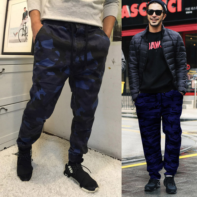 La primavera y el Otoño de Los Hombres de Camuflaje Moda Haren Pantalones Adolescentes Lavado Con Agua de Algodón Superior Pantalones Basculador Pantalones Largos Sueltos