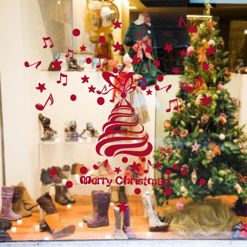 DCTAL Christmas Tree Sticker Glass Window Decal Home Decor Shop Decoration X mas Stickers xmas042