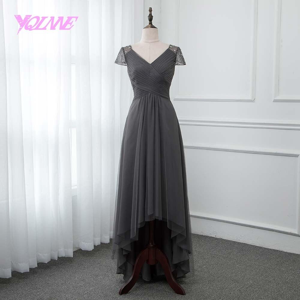 YQLNNE Dark Gray High Low Prom Dresses 2018 Cap Sleeve ...