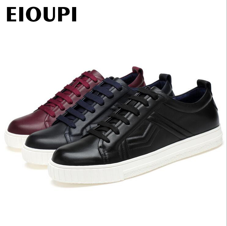 EIOUPI top quality new design genuine real cow leather mens fashion business casual shoe breathable men shoes lh2067 top quality genuine real grain leather boots qshoes mens brand design business dress casual men personalized boot ym08 01