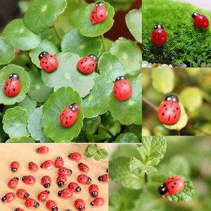 NEW Hot Sale 10Pcs Miniature Coccinella Septempunctata Resin Crafts DIY Little Garden Decorations
