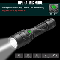 80000 Lumen powerful Tactical Flashlight LED light Rechargeable Waterproof Scout Torch Hunting light 5 Mode by 1*18650 work lamp