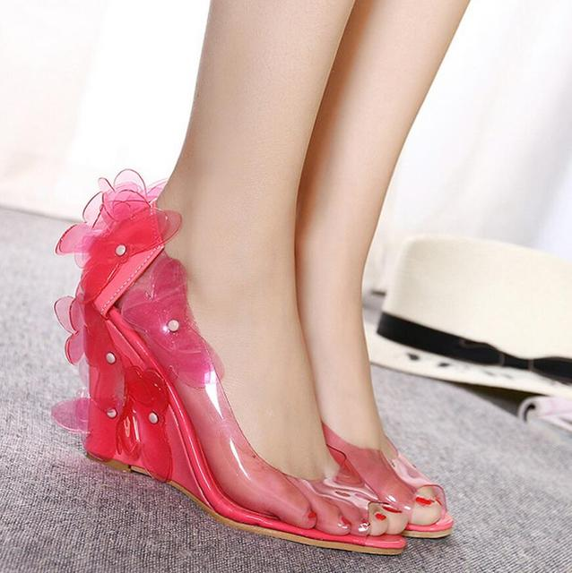 Womens pvc wedge high heels flower sandals transparent sweet peep womens pvc wedge high heels flower sandals transparent sweet peep toe jelly casual pink blue pumps mightylinksfo